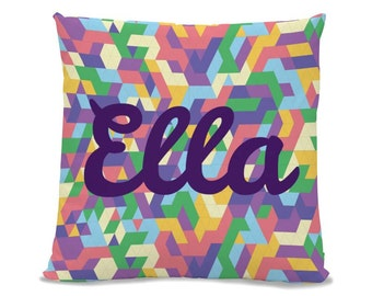 Personalized Pillow, Kids Pillow, Throw Pillow, Accent Pillow - Abstract Polygone