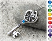 Geared for Love / Valentines Day Gift ideas for Her / Key to my Heart Necklace / Create your Own Necklace / Valentines Gifts for her