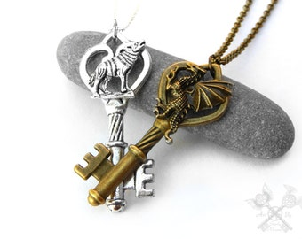 Wolf and Dragon Set / Couples Necklace Set / Fantasy Key Necklace / Gifts for Couples / Couple Necklaces / Key to my Heart Necklace