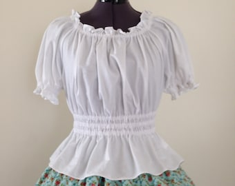 White Shirred Lolita Blouse