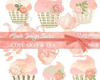 Clip Art Cupcakes, Clip Art Teacup, Planner Clipart, clip art commercial use, Tea Party Clip Art, png Cupcakes, Blush Teapot Clip art, 16036
