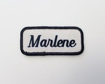 Vintage Embroidered Name Patch - MARLENE Sew On Patch - Factory Patch - Bowling Shirt Patch