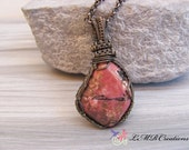 Wire Wrapped Gemstone Pendant, Pink Stone Necklace, Wire Woven Rhodonite Necklace