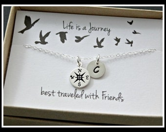 Best friends compass necklace- STERLING SILVER life is a journey best traveled with friends message card silver compass jewelry personalized