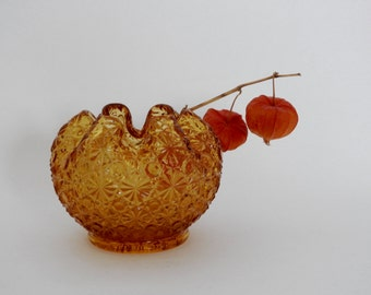 Amber Glass Daisy and Button Rose Bowl