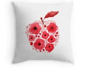 Red Apple, Original Watercolour Art, Throw Pillow Case w/optional insert, Home Decor, Red, White, Unique Gift