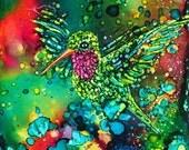 """Hummingbird Joy, An Original 4"""" x 4"""", Hand Painted, Alcohol Ink Tile ~ Sold"""