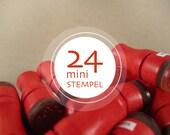 24 Mini Rubber Stamps