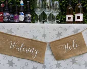 Watering Hole, Burlap Banner, Burlap Wedding, Rustic Wedding, Rustic Banner, Table Banner, Reception Sign, Watering Hole Banner, Drinks Sign