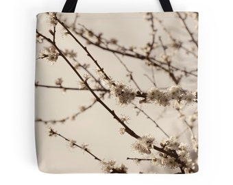 Spring Tote Bag, Cherry Blossom, Soft Pastel, Romantic, Photo Bag, Sakura Tree, Flowers, Nature, Zen Gift, Sweet Market Tote, Shabby Chic,