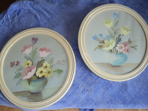 2 Original Watercolor Still Life Floral Art Works in White Wooden Round Circular Frames in an elegant soft pastel color palette