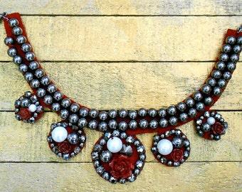 Gunmetal Gray Beaded Rose Beaded Collars