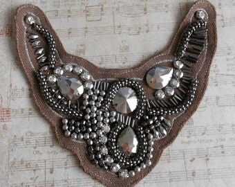 Silver Beaded Applique