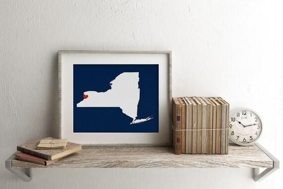 New York City State Map - Custom Personalized Heart Print - I Love New York - NYC USA Hometown Wall Art - Gift Souvenir