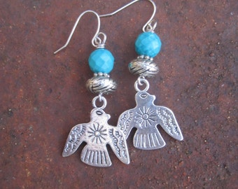 Faceted Turquoise Round Beads and Thunderbird Charm Earrings