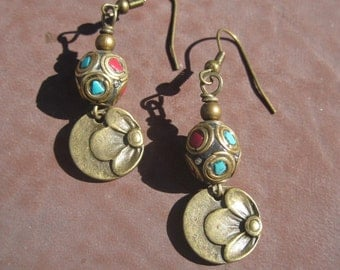 Nepal Beaded Earrings, Turquoise and Coral Inlay Beads  and Flower Charm Earrings