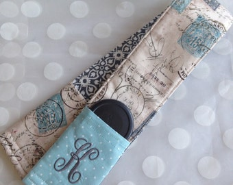 Camera Strap Cover with 2 Lens Cap Pockets - Personalized Reversable Strap Cover-Monogramed Strap Cover - Lt Aqua Postage Stamp Fabric