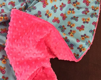 Baby Blanket in Timeless Treasures Fabric in Butterfly pattern Baby Girl Blanket READY TO SHIP!!