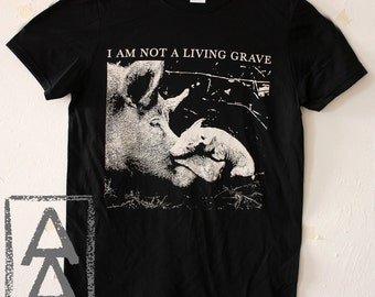 I am not a living grave vegan animal rights shirt punk