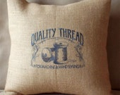 Vintage Sewing Machine - Quality thread - Natural Burlap Pillow Cover - Mother's Day Birthday Mother Gift