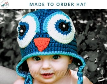 What a HOOT! Made to Order Crochet owl hat for babies and toddlers