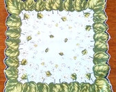 Vintage cotton hanky with green leaves and Daisies