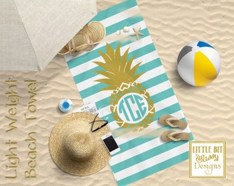 Pineapple Personalized Beach Towel Chevron Monogrammed Towel 30x60 Gym Towel Turquoise Stripes