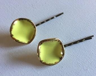 Yellow Vintage Repurposed Button Bobby Hair Pins, Bobbypin Hair Pin Set