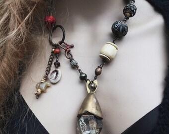 Tibetan quartz necklace, Amulet necklace,  Large quartz, rustic assemblage, Raw quartz necklace, Tribal beaded necklace, Statement necklace