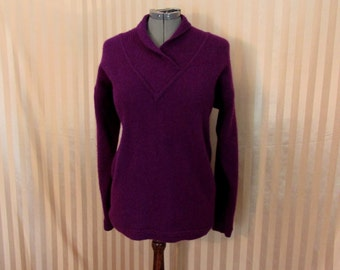 Vintage 80s Plush Purple Lambswool Angora Long Sleeve  Sweater Women's Size S / M