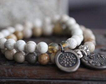 FLASH SALE White Turquoise, Stretch Bracelet, Beaded Bracelet, Neutral, Earthy, Bronze Charm, Czech Glass, Flower Charm, Boho, Rustic, Stack