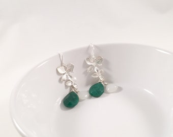 Touch of Silver, Silver Cascading Orchid and Emerald Jade Earrings