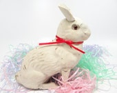 Vintage German Paper Mache Easter Rabbit Candy Container with Glass Eyes