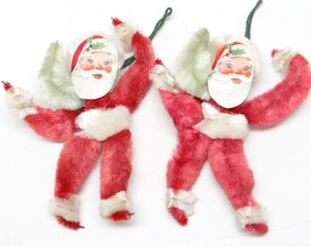 Two 1950's Red Chenille 3 inch, Paper Scrap Santa, Vintage Christmas Ornament