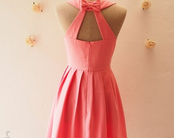 Pink  Dress, Pink Party Dress, Pink Backless Dress, Vintage Bridesmaid Dress, Pink Summer Dress, Pink Tea Dress, Love Potion