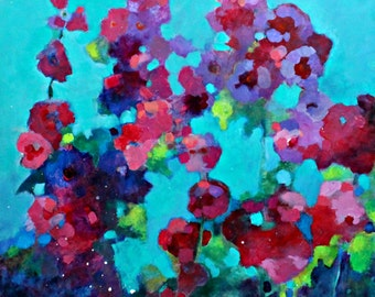 "Acrylic Painting, Abstract Floral, Pink, Purple, Turquoise Loose Brushstrokes ""Sultry Summer Day in the Garden"" 20x20"""