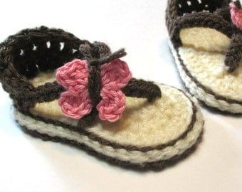 Trendy crochet baby summer sandals.  Made to order summer flip flop sandals.  Double sole sandals for baby girl.  Butterfly girls sandals.