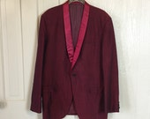 Vintage 60s Maroon Black Raw Silk Smoking Jacket Shawl Collar Pinstripe Lining M126