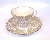 Gorgeous Gold Filigree Teacup and Saucer Set, Vale English Bone China