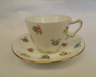 Crown Staffordshire Floral Teacup, Gold Accents