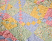 Reserved SALE Tulip King / Queen Patchwork Quilt Handmade by Pingwynny