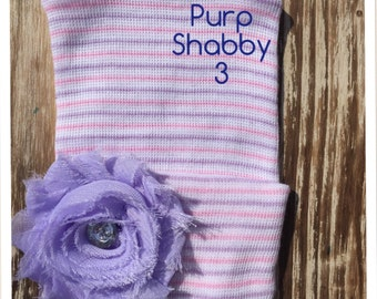 First Bow Newborn Hospital Hat Lavender Bling Shabby Chic Flwr (newborn girl hat, newborn beanie, newborn hospital hat with bow, first bow)