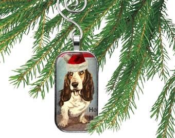 Santa Claus Basset Hound Dog Christmas Necklace Ornament