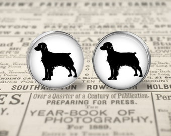 Brittany Dog Button Earrings