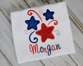 Personalized Swirly Stars Patriotic 4th of July Shirt or Bodysuit