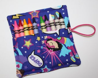 Crayon Rolls Party Favors, SUPER DUPER HEROES Girls Crayon Rollup, holds up to 10 Crayons, Birthday Party Favors