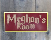 Harry Potter Inspired Personalized Bedroom Room Sign - Gryffindor Colors Fantasy Movie Picture Decoration - Red Gold Painted and Carved Wood