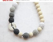 Christmas gift idee Monochrome. Wrap Baby Carrier Sling Accessory. White, light grey, dark grey, anthracite crochet necklace with natural...