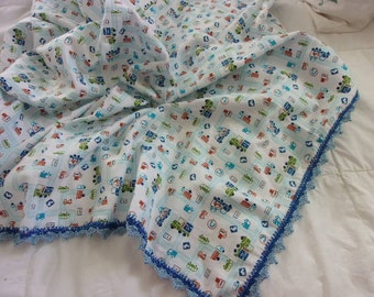 Receiving blanket - trucks print cotton flannel with hand crocheted cotton border - ready to ship!
