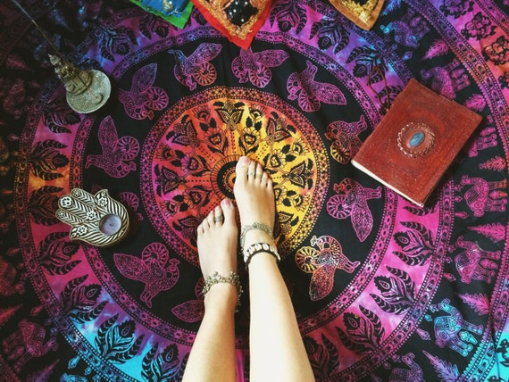 TIEDYE ELEPHANT BLANKET -Mandala Wall Hanging - Bohemian Throw - Bed Sheet - Hippie Blanket - Beach Towel - Shabby Chic - Mandala - Homeware
